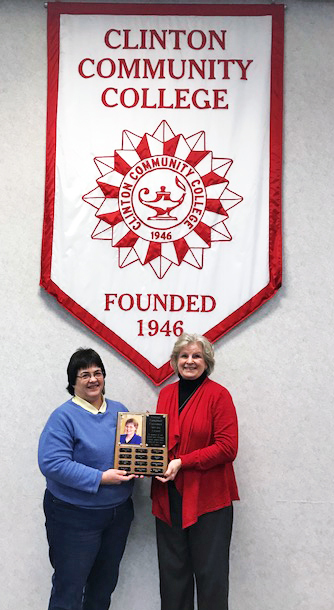 Shirley Turnis accepting Campbell Award from CCC President Karen Vickers