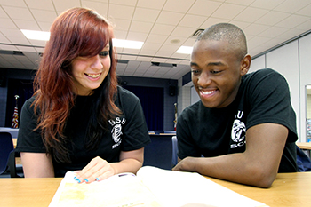 Student members of the Black Student Union, wearing Black Student Union tshirts