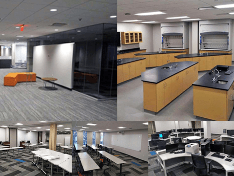 newly furnished classroom, computer lab, science lab, student lounge area in Urban Campus