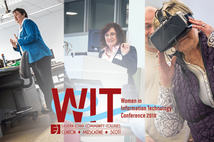 Three women presenters talking about robotics and virtual reality with WIT Logo