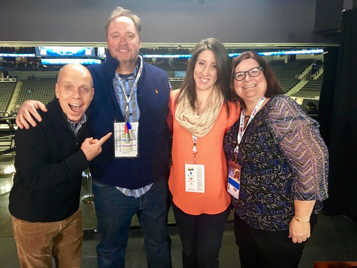 Tara Wellman with a group of other media people