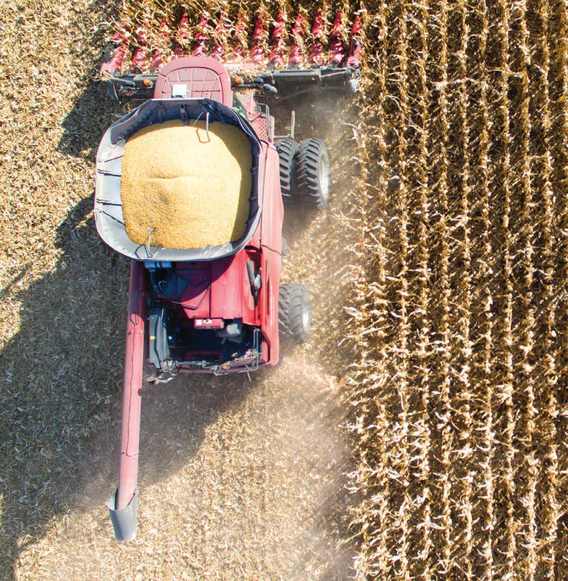 Tractor from above harvest crops