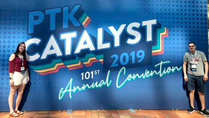 MCC Students standing in front of PTK Catalyst sign