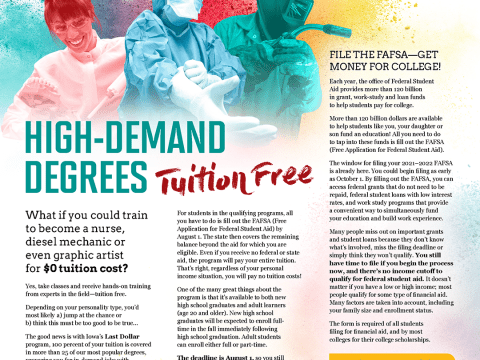 High-Demand Degrees Tuition Free Magazine Layout