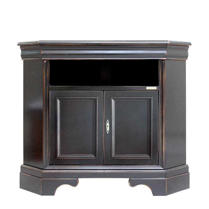 meuble tv d angle laque noir