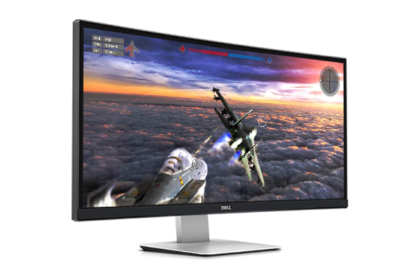 Slightly tilted view of Top view of Dell Curved Monitor U3415W while displaying image