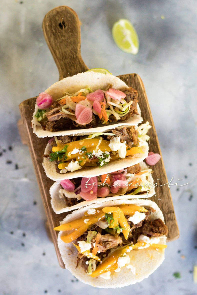 These tacos are made better with our spicy mango salsa. | tchakayiti.com