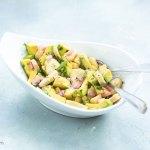 This plantain salad is enhanced with homemade vinaigrette and avocados. | tchakayiti.com