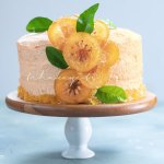 This orange cake is infused with real oranges, an orange buttercream and garnished with candied citrus slices and peel. | tchakayiti.com