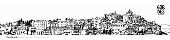Carte postale panoramique Gordes, carte postale dessin Gordes