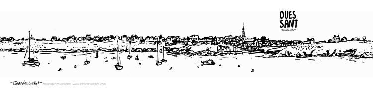 Carte postale panoramique Ouessant, carte postale dessin Ouessant