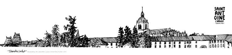 Carte postale panoramique abbaye de Saint-Antoine, carte postale dessin abbaye de Saint-Antoine