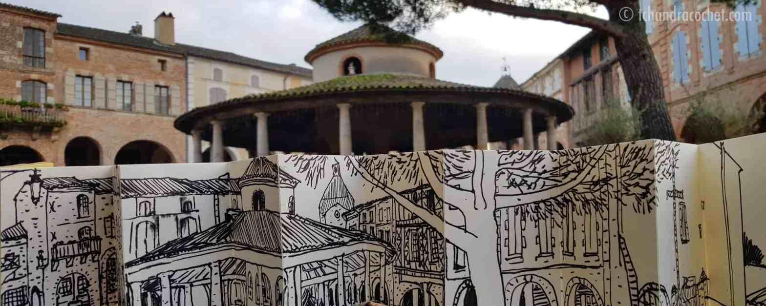 Dessin panoramique Auvillar par Tchandra Cochet
