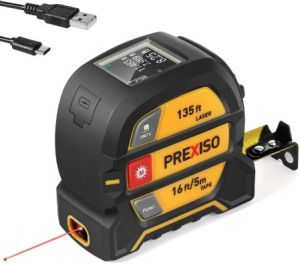 PREXISO 2-in-1 Laser Measure 135Ft & Tape Measure 16 Ft - Best Laser Tape Measure