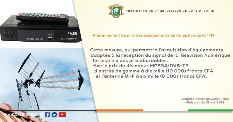 Coup du décodeur et de l'antenne de la TNT en Cote d'Ivoire