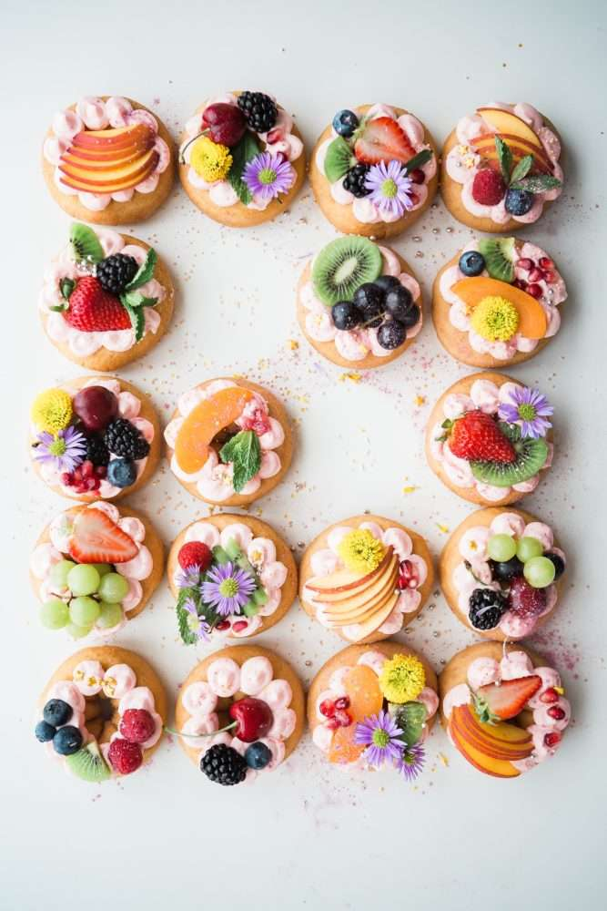 Treats to Pair With Tea - Photo of an arrangement of pastries topped with fruit