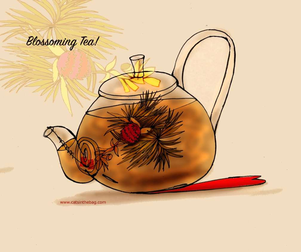 Illustration of a glass teapot with a blooming tea within.