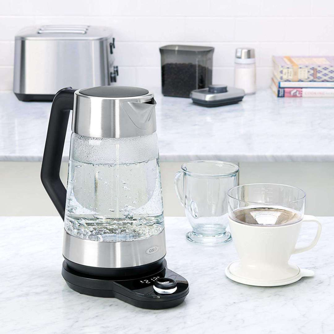 OXO Electric Kettle Sitting on a Kitchen Counter