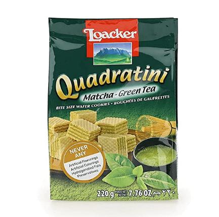 Photo of a package of Loacker Quadratini Premium Matcha Green Tea Wafer Cookies.