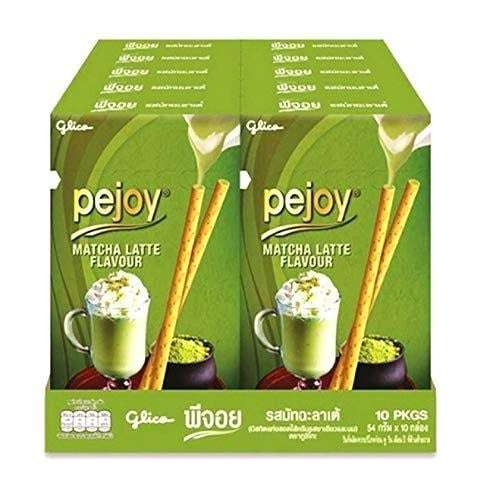 Photo of a display of ten boxes of Pejoy Cookie with Matcha Latte Flavour.