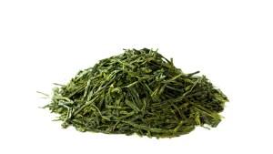 sencha green tea - a mound of dry leaf
