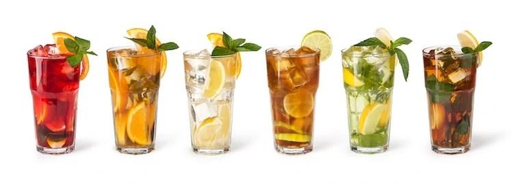 six glasses of iced tea