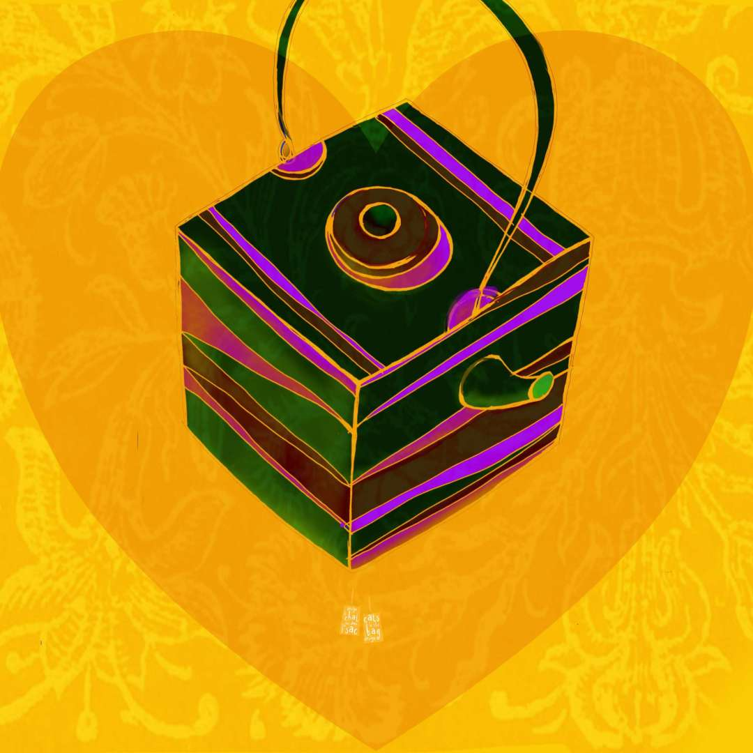 Illustration of a colorful, square teapot with a heart in the background