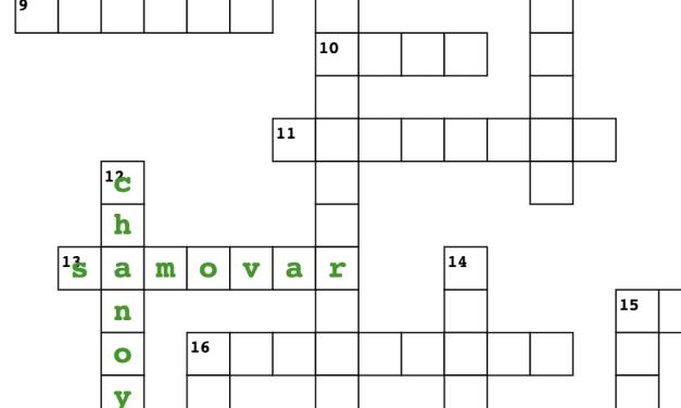 Tea Crossword Puzzle; All Things Tea