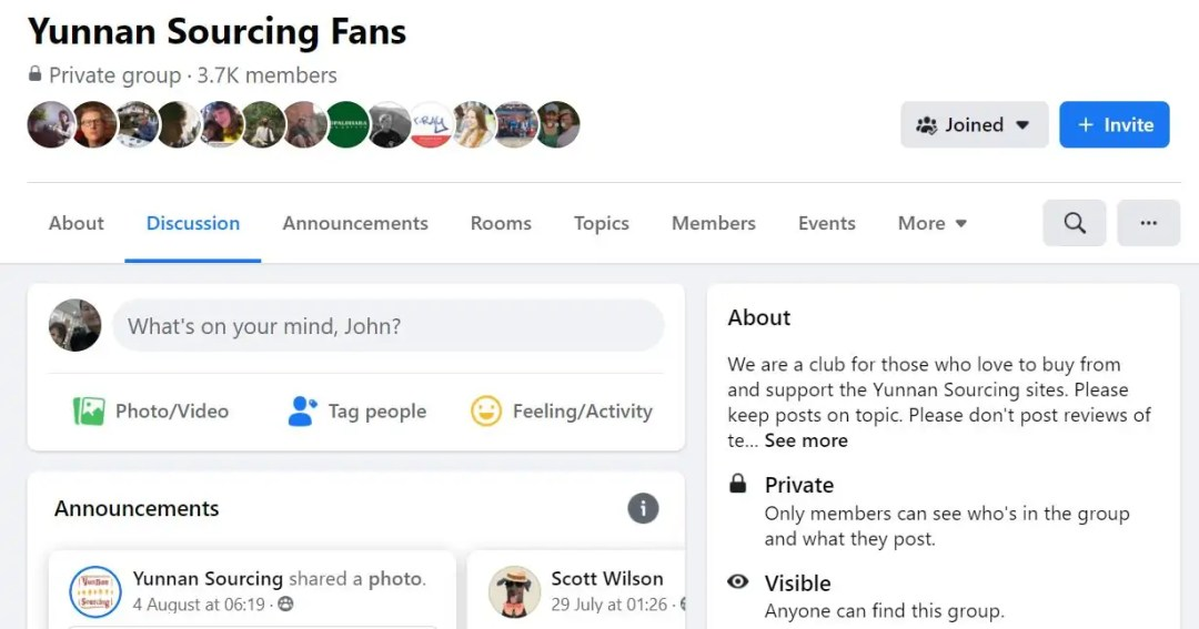 Screen Capture of Yunnan Sourcing Fans Facebook page