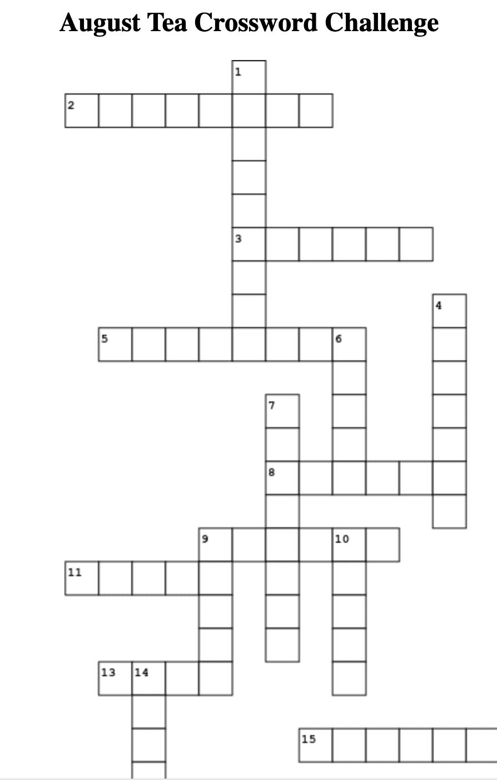 August Tea Crossword Puzzle