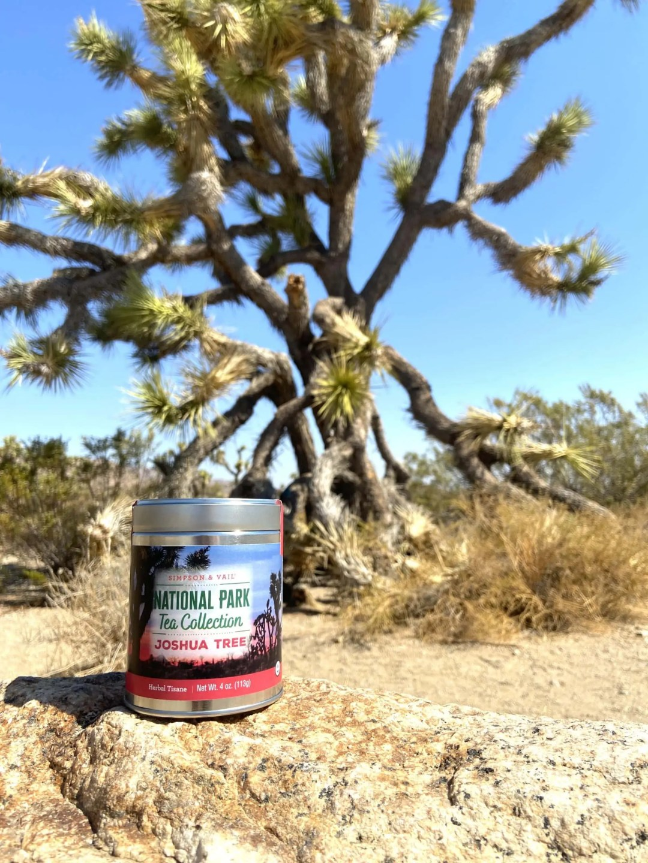 Tin of Joshua Tree Tea in front of a Joshua tree