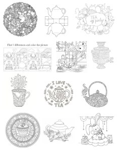 Gallery of tea themed coloring pages available to Tea Sippers Society subscribers