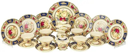 24-Piece Tea Set with Rose Pattern