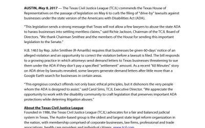 TCJL Applauds Passage of ADA Drive-By Lawsuit Reform
