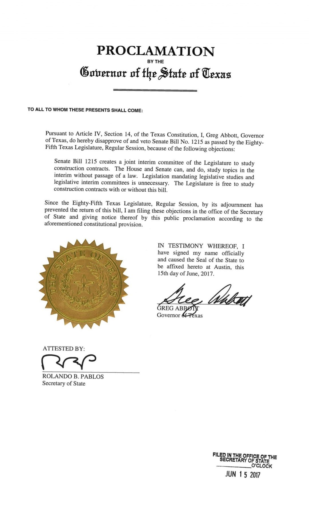 Texas SB 1215 Veto | Governor Greg Abbott