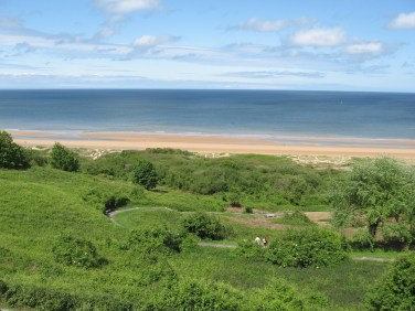 The view of Omaha beach from the cemetery.