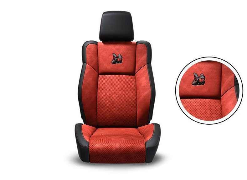 Black Nappa Leather Trim with Alcantara® Suede Bolsters, Ruby Red Alcantara Perforated Suede Inserts, Ruby Red Accent Stitching and Embroidered Bee Logo Standard on R/T Scat Pack