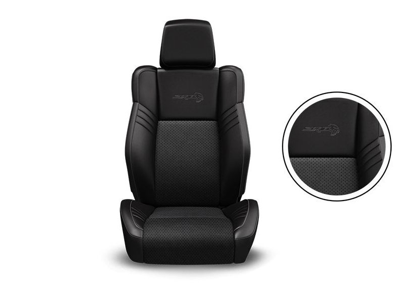 Black Nappa Leather Trim with Alcantara® Suede Bolsters, Alcantara Perforated Suede Inserts, Tungsten Accent Stitching and Embroidered Bee Logo Available on R/T Scat Pack