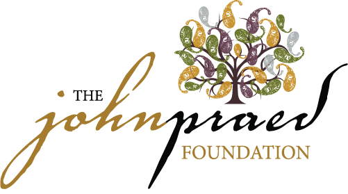 Praed Foundation logo in gold & black cursive font with image of tree in right corner.