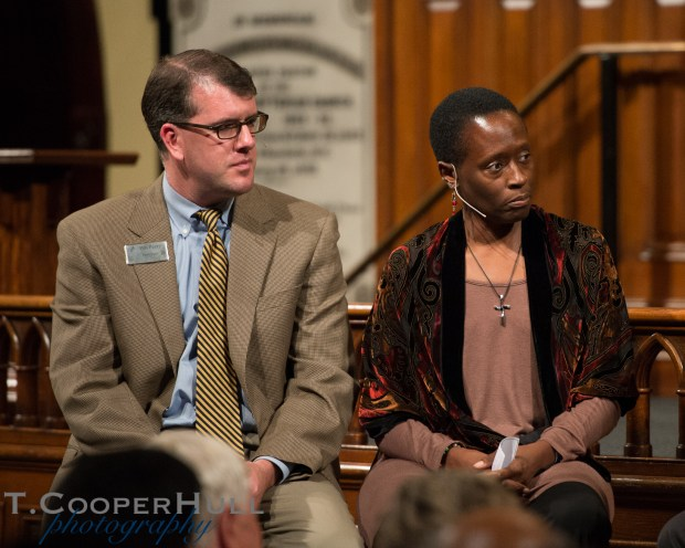 Senior Pastor Rev. Pen Peery and Gail Henderson-Belsito during the question and answer segment of the lecture