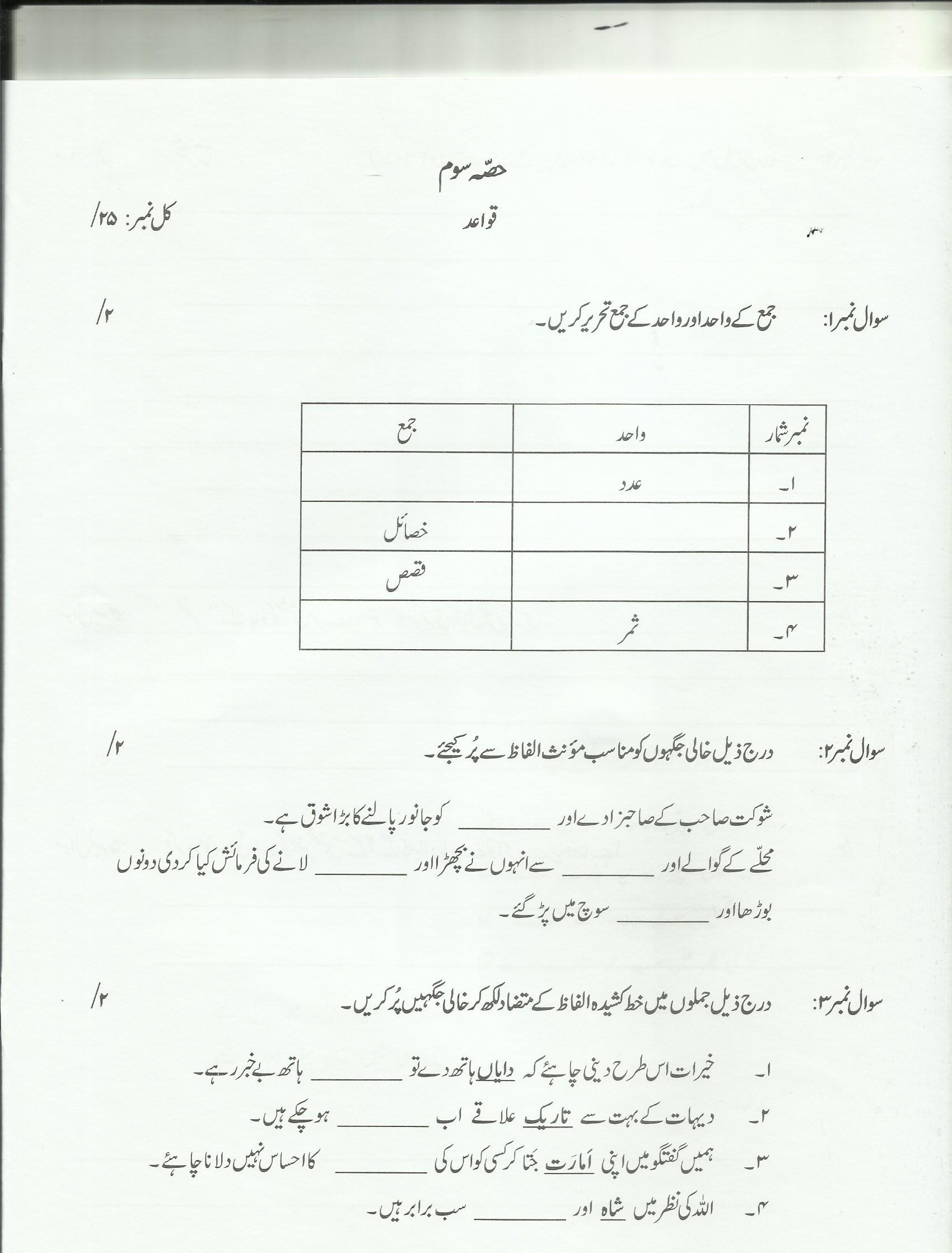 Class 7 Urdu