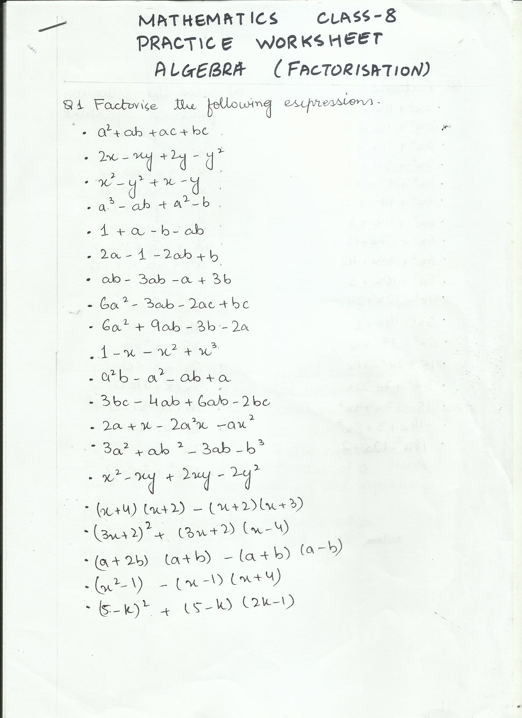 Mathematics Practice Worksheet Class 8