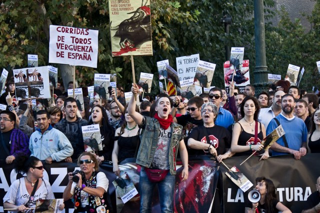 Protest against bullfighting