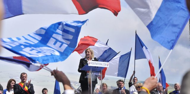 Marine Le Pen at a meeting in 2012