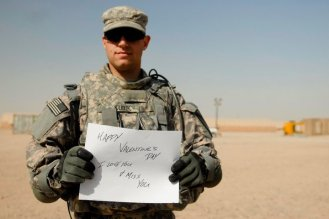 Anna's brother-in-law sending a message to his wife from Iraq.