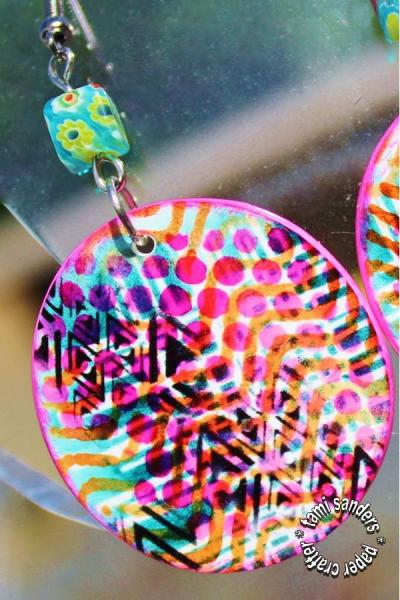 graffitti earrings - tcw,the crafter's workshop,shrink plastic,shrink earrings,shrink plastic jewelry,stenciled jewelry,stenciled shrink,tami sanders - 2 - shwm