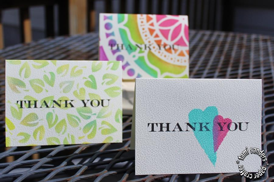 tcw -2 - thank you cards,the crafter's workshop,inking stencils,stenciled cards,tami sanders - shwm