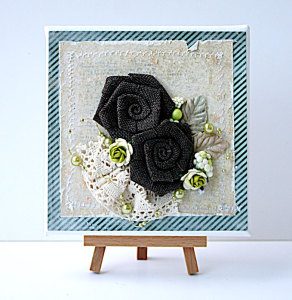 Burlap-flowers-mixed-media-canvas by Yvonne Yam for The Crafters Workshop