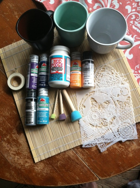 Supplies for Stenciled Mugs