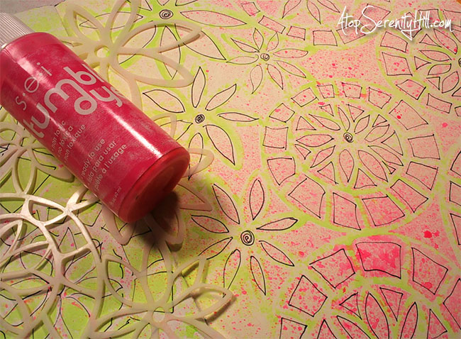 Doodling...a great way to de-stress! An art journal page using The Crafter's Workshop stencils and markers • AtopSerenityHill.com #artjournal #doodling #stencil